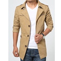 Trench Coat Men Slim 2017 Autumn Single Breasted Mens Overcoat Long Sleeve Khaki Army Green Black Plus Size 3XL 4XL 5XL