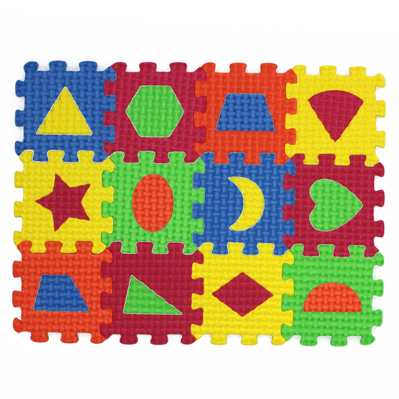 Children Mini EVA Foam Trivial & Square Geometry Floor Soft Baby Mat 3d Puzzle Kids Educational Toys 36 Pcs For Children Gift