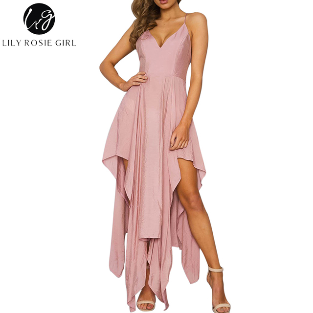 Conmoto Off Shoulder V Neck Strap Pink Asymmetrical Dress Women Sexy  Backless Zipper Party Maxi Long Dresses Vestidos 45861878a593
