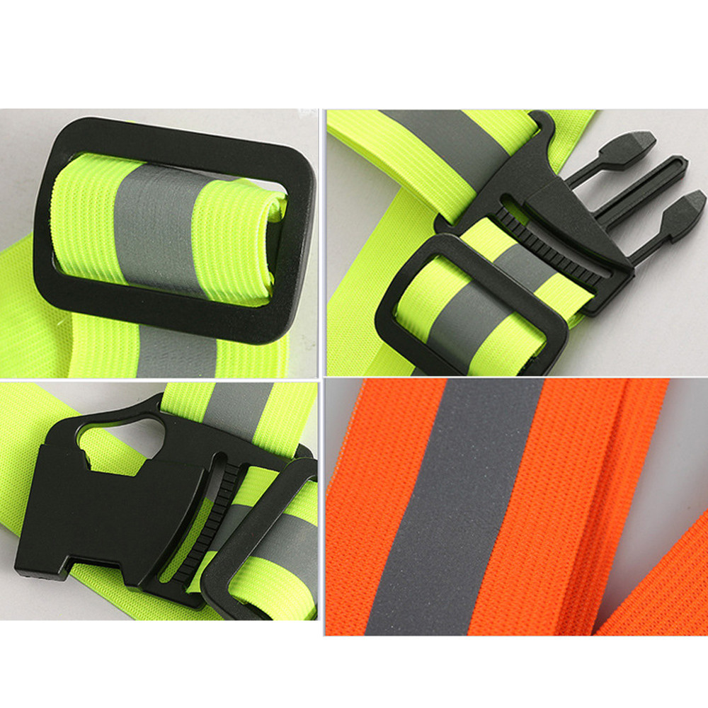 Unisex Outdoor Cycling Safety Vest Bike Ribbon Bicycle Light Reflecing Elastic Harness For Night Riding Running Jogging Bicycle Light