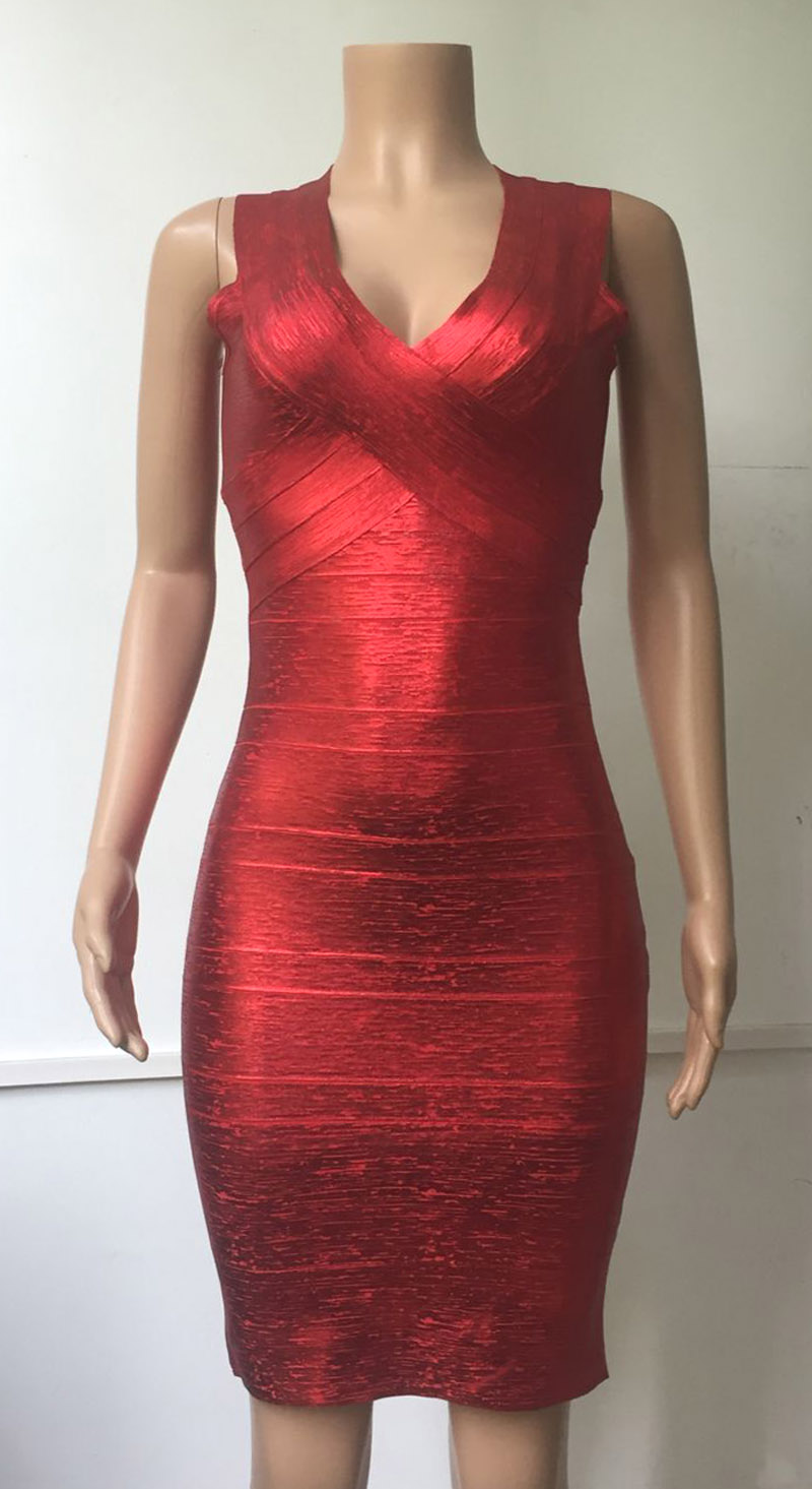 0d36b74c4960a Shining Green Gold Red Foil 2018 Women bandage Dress Celebrity summer style  Dress Club Party Bodycon Drop Ship MD8628