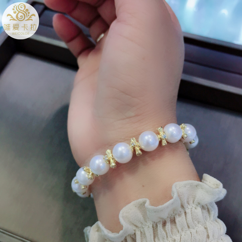 WEICOLOR Bracelet à la mode! Perle d'eau douce naturelle ronde blanche bonne qualité et couleur or clair articles brillants et fermoir - 5