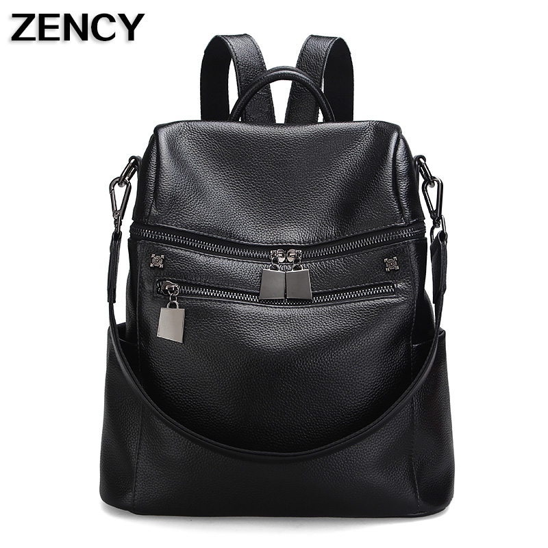 2017 First Layer Natural Genuine Leather Designers For Girls School Backpacks Women Black Dark Blue Pink Purple Gray Color zency genuine leather backpacks female girls women backpack top layer cowhide school bag gray black pink purple black color