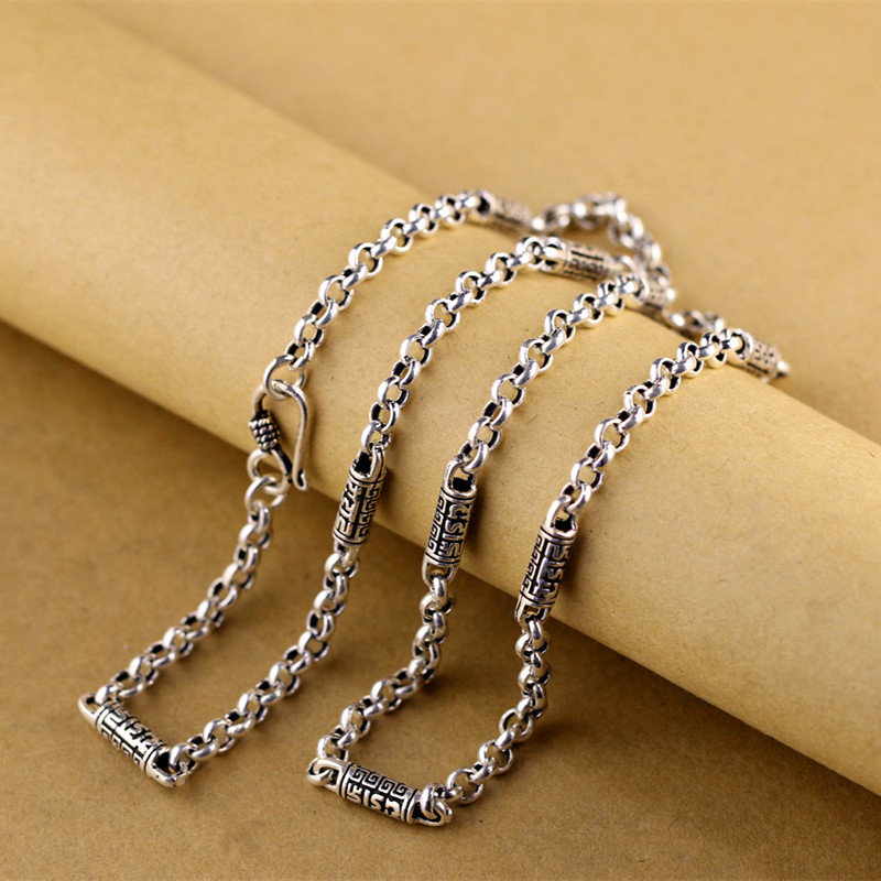 Real silver items S925 pure silver ornaments Thai silver Fashion men O necklace character silver items s925 pure silver ornaments new mark antique watch thai manual exaggerated female model