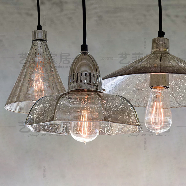 mercury glass pendant. Retro Industrial Loft Antique Mercury Glass Pendant Light Coffee Shop Single Restaurant Hanging Lamp T