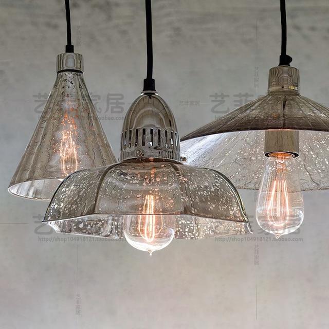 Retro Loft Antique Mercury Gl Pendant Light Coffee Single Restaurant Hanging Lamp
