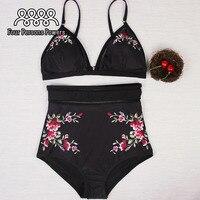 High Waist Swimsuit Women Floral Bikini Set Padding Push Up Bikinis NK58