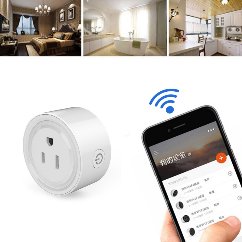 OOTDTY 2200W Smart Power Socket WiFi Wireless Mini Switch Remote Control Timer Outlet US Plug wireless remote control smart socket control power rf socket switch plug outlet for gsm 3g wifi golden security alarm systems