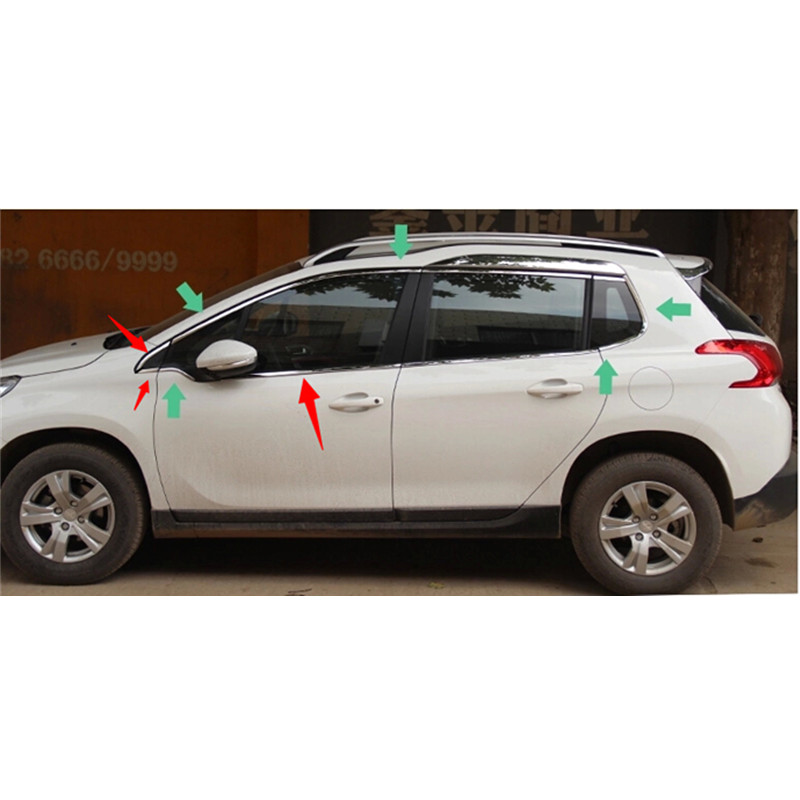 Car styling High-quality stainless steel Strips Car  Window Trim Decoration Accessories  16  For 2014-2016 Peugeot 2008 high quality stainless steel strips car window trim decoration accessories car styling for 2013 2016 peugeot 301 10piece