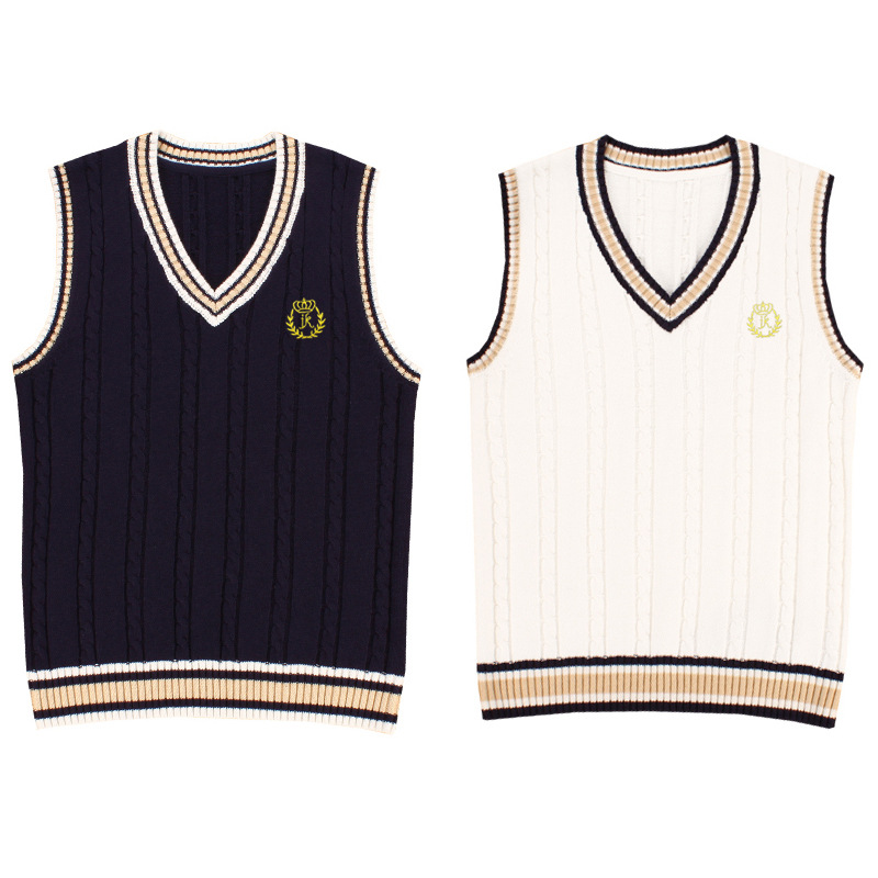 Korean School Uniform Vest Fashion V neck Embroidery Pullover School Girl Boys British font b Sweater