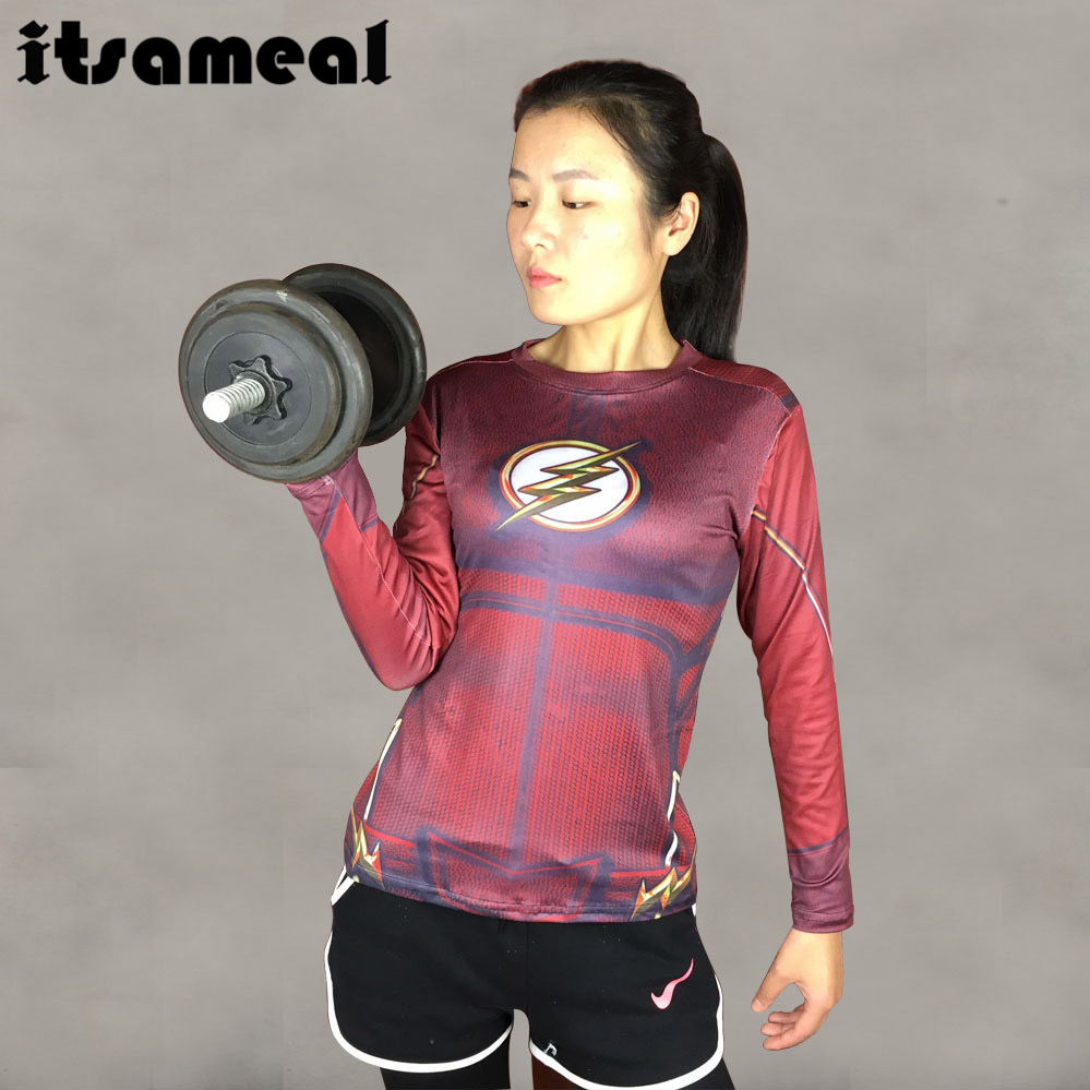 Compression Shirt Flash 3D Printed T Shirt Women Raglan Long Sleeve Cosplay Costume Quick Dry Fitness Slim Clothing Tops Female
