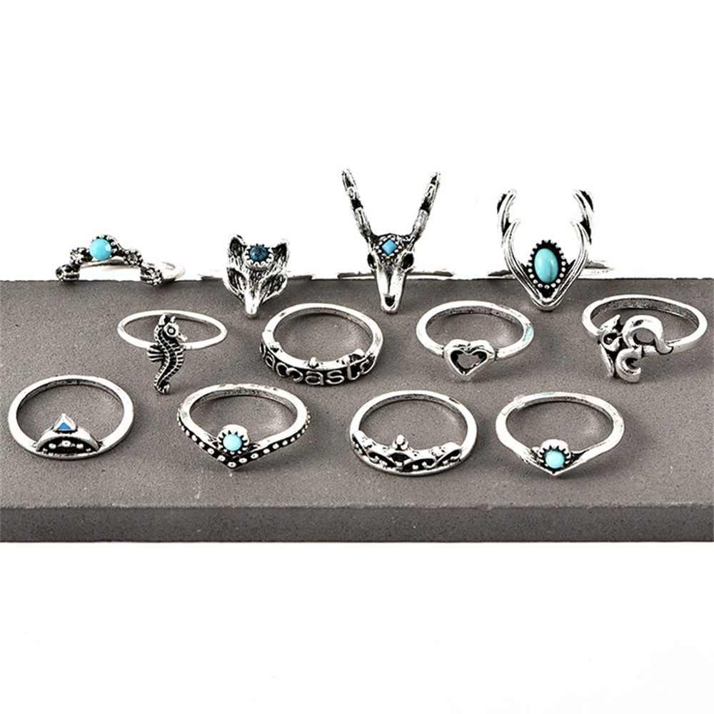 12 ชิ้น/เซ็ตBohemian Retro DeerหัวใจOMอัญมณีเรขาคณิตเงินสีแหวนผู้หญิงเครื่องประดับงานแต่งงานของขวัญ