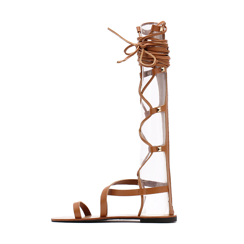ФОТО 2016 European high Roman sandals thick with high bind with zipper cool leather boots Roman shoes in the summer