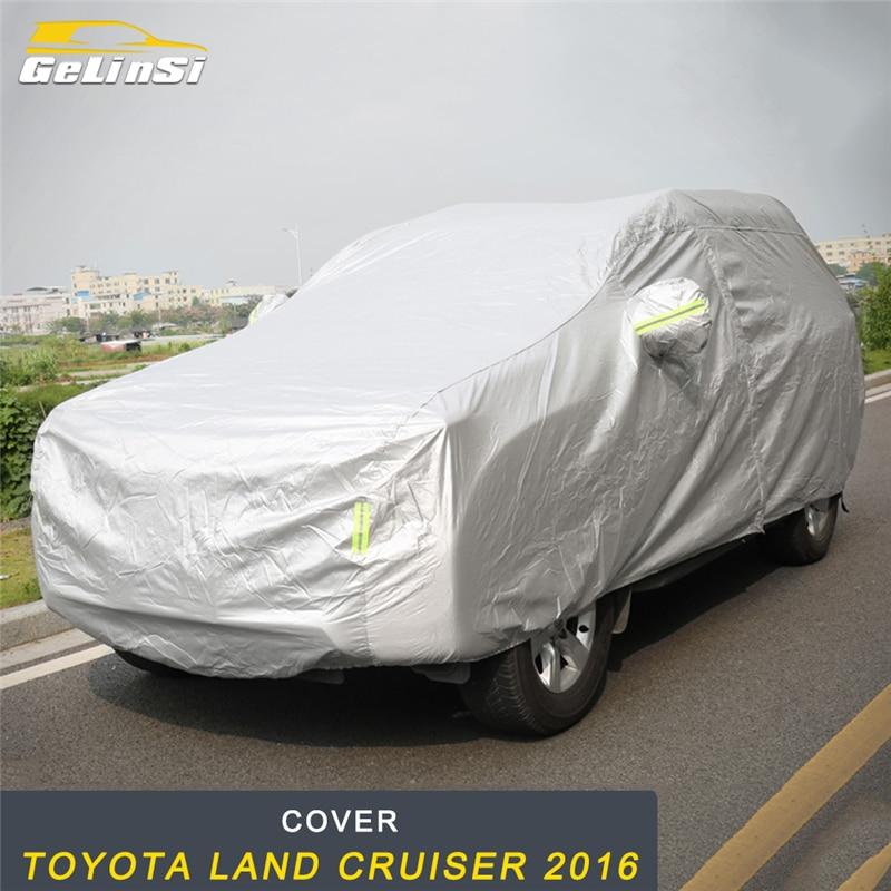 GELINSI bâches de voiture imperméables Protection solaire extérieure réflecteur poussière pluie neige pour Toyota Land Cruiser 2016