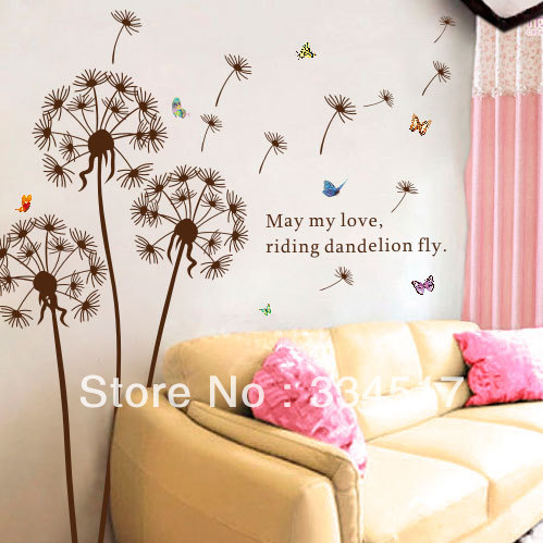 free shipping dandelion wall stickers living room decor decoration