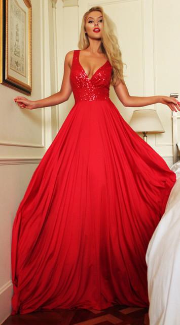 Alice Vermelho Vestidos de Baile 2017 Chegada Chiffon de Festa À Noite Longo Com Decote Em V Vestido de robe de