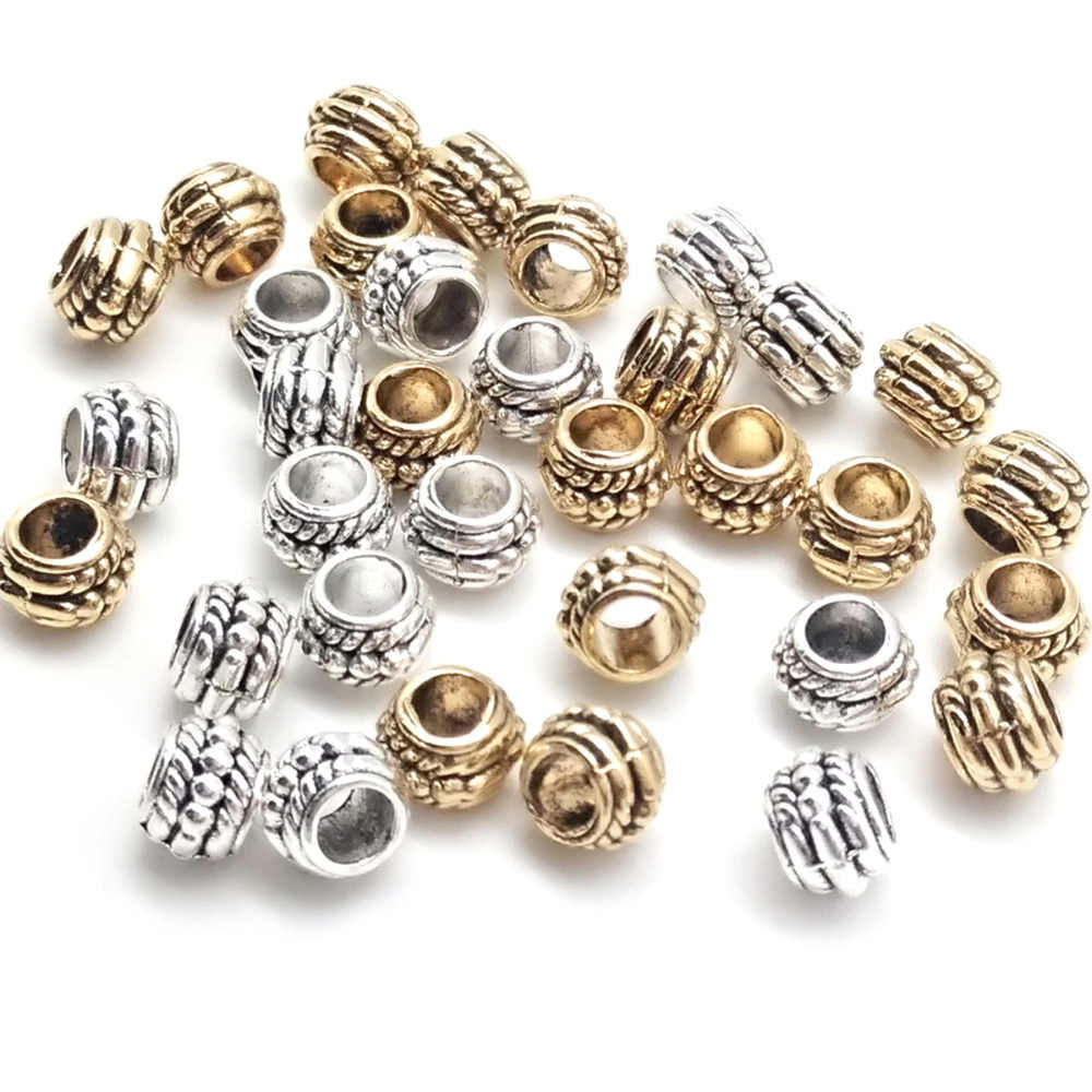 6 Style Antique Silver/Gold Color Round Spacer Beads Loose Beads for Jewelry Making Bracelet Accessories DIY Handmade