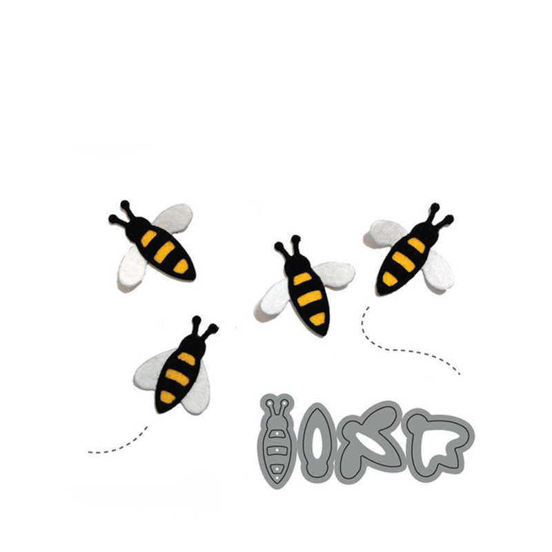 4PCS Cute Bee Metal Cutting Dies Stencils For Card Making Decorative Embossing Suit Paper Cards  DIY Dies Scrapbooking New 2018
