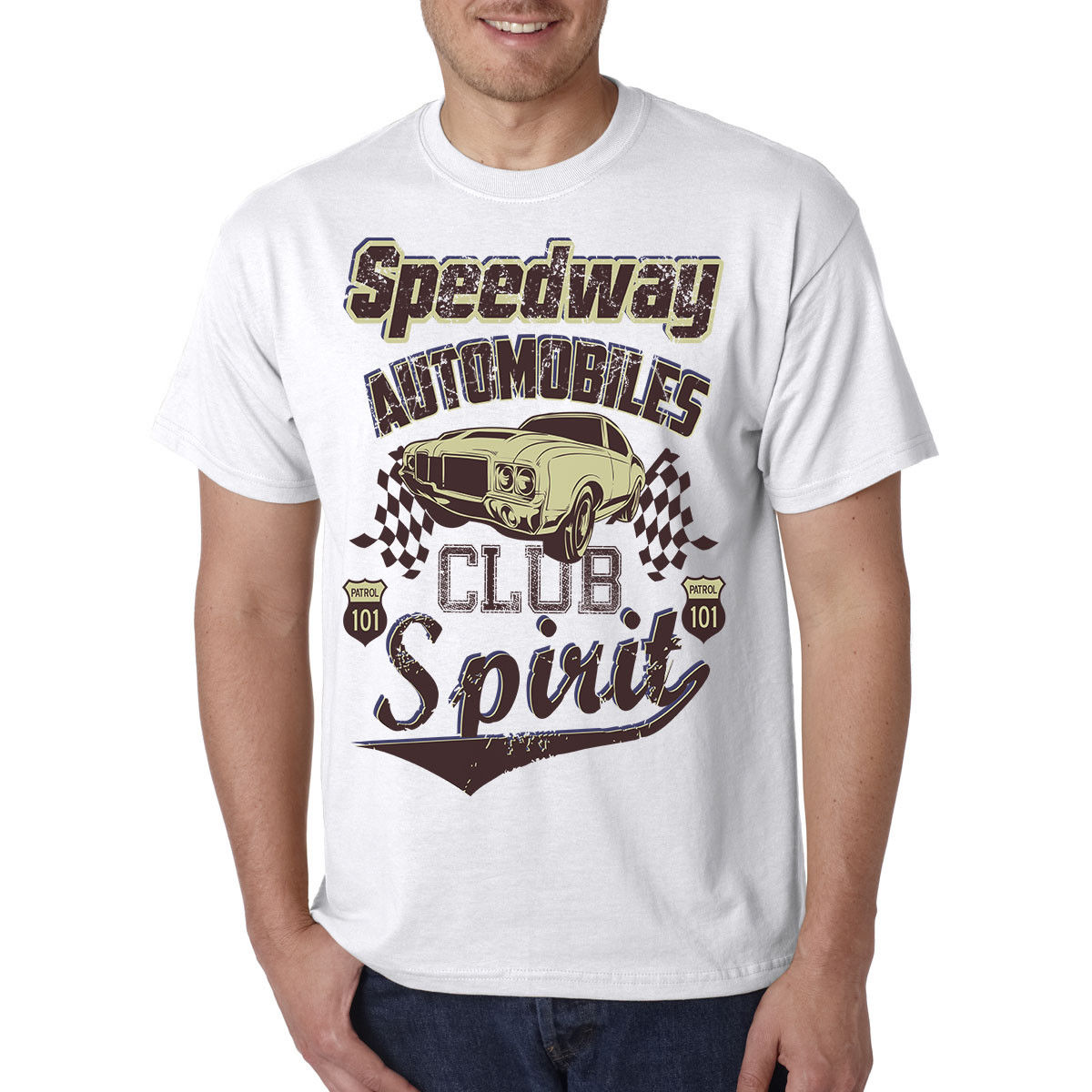 Speedway Automotive Club T Shirt Classic Hot Rod Drag Racing Motor