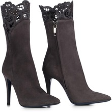 New Born Luxury Suede Boots Gray Colors With Cut Out Flower Pumps Crystal font b Party