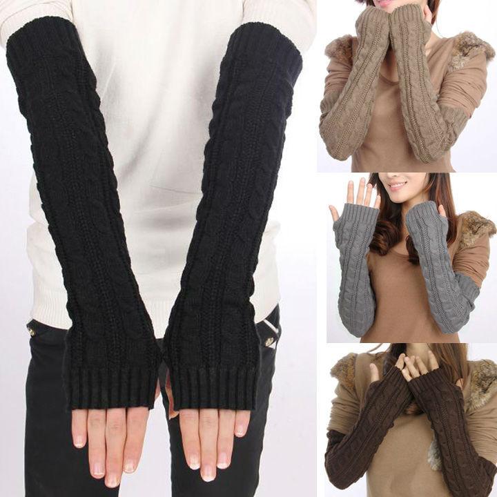 Rabbit Wool Arm Sleeve Super Long Pattern Knitted Gloves Fingerless