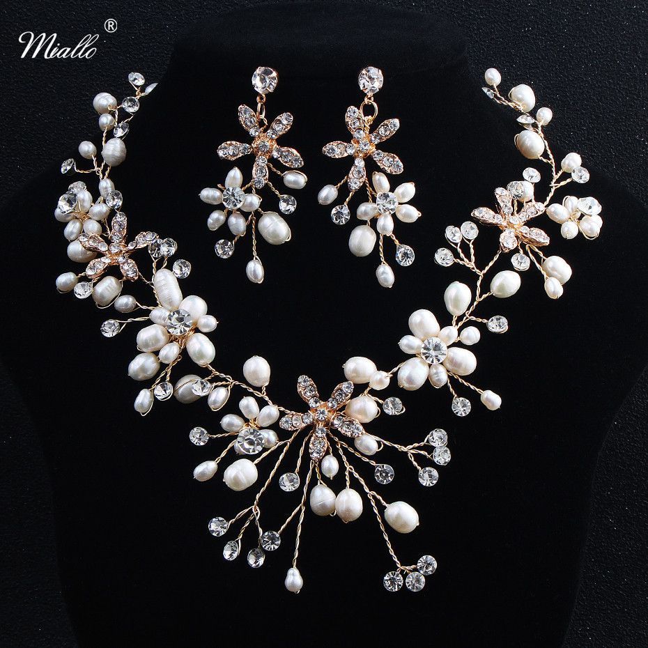 6af78fa70 Miallo Freshwater Pearls Necklace Earrings Sets Handmade Wedding Jewelry  Accessories Bridal Crystal Jewellery Sets For Women