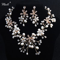 Miallo Freshwater Pearls Necklace Earrings Sets Handmade Wedding Jewelry Accessories Bridal Crystal Jewellery Sets For Women