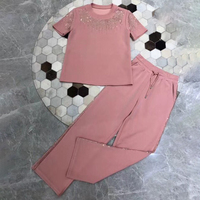Женские брюки с пайетками, с круглым вырезом, с воротником, Женские топы и брюки из 2 предметов, комплекты 2019 года, летние женские розовые брю
