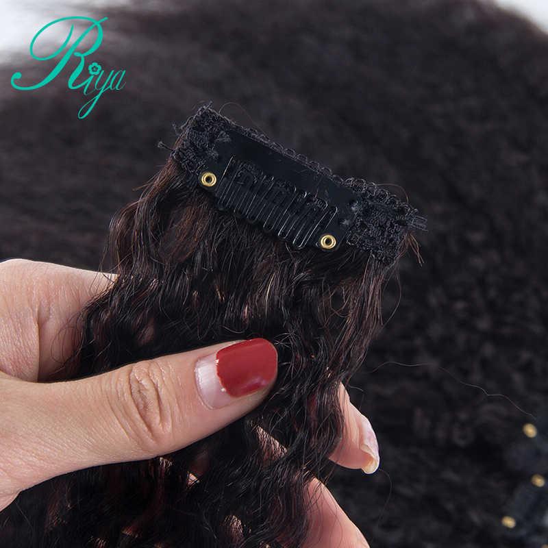Riya cabelo kinky reta clipes 100% grampo de cabelo humano na extensão do cabelo 8 peças/set e 120 g/set cor natural remy cabelo riya
