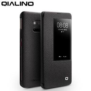 Image 1 - QIALINO דק אמיתי עור Flip Case עבור Huawei Mate 20 פרו יוקרה טלפון כיסוי עם תצוגה חכמה עבור huawei Mate 20 X