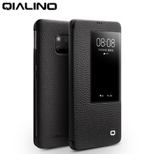 QIALINO Ultra thin Genuine Leather Flip Case for Huawei Mate 20 Pro Luxury Phone Cover with Smart View for Huawei Mate 20 X