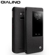 QIALINO ultra cienki skórzany pokrowiec z klapką dla Huawei Mate 20 Pro luksusowy telefon pokrywa z inteligentnym widokiem dla Huawei Mate 20 X
