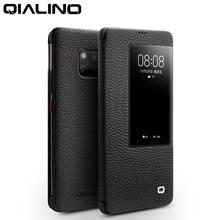 QIALINO ultra ince Hakiki Deri Flip Case Huawei Mate 20 Pro Lüks Telefon Kapak için Akıllı Görünüm için huawei Mate 20 X