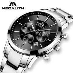 MEGALITH człowiek zegarki 2018 Top marka luksusowy zegarek kwarcowy wodoodporny analogowy chronograf zegarki dla mężczyzn zegar Relogio Masculino w Zegarki kwarcowe od Zegarki na