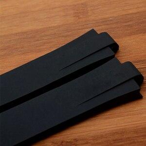 Image 4 - Marca 24mm x 11mm preto de alta qualidade silicone borracha pulseira relógio à prova dwaterproof água dobrável fivela aquis pulseira para oris