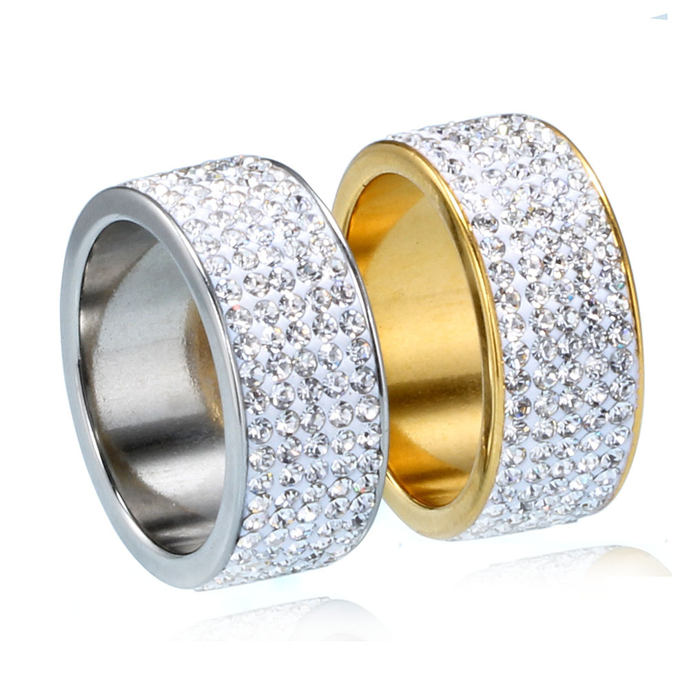 Hip Hop Full Rhinestone Bling Ice Out Mens Ring Gold Color Titanium Stainless Steel Rings for Men Women Fashion Jewelry