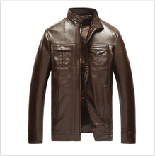 New Men Leather Jacket Fur Stand Collar PU Motorcycle Jaqueta Masculinas Inverno Plus velvet Jacket Men Wadded Casual Parka