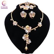 CYNTHIA Dubai Conjuntos de Jóias de Luxo Colar Brincos Pulseira Anel de Ouro para As Mulheres de Cristal Conjunto De Jóias de Noiva Acessórios Presentes