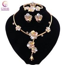 CYNTHIA Luxus Dubai Schmuck Sets Kristall Halskette Gold Ring Ohrringe Armband für Frauen Braut Schmuck Set Zubehör Geschenke