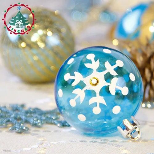 luxury painted christmas ball 6cm blue gold color christmas tree ornaments shop decoration color ball wholesale in ball ornaments from home garden on - Blue And Gold Christmas Decorations
