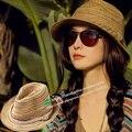 Nueva Moda Sol Sombrero del Verano de Las Mujeres de La Muchacha de Rayas de Colores del arco iris Plegable Sombreros de Paja Para Las Mujeres Beach Headwear