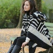 European and American translator Yang Mi winter star with a black and white cashmere scarf shawl geometric split Cloak