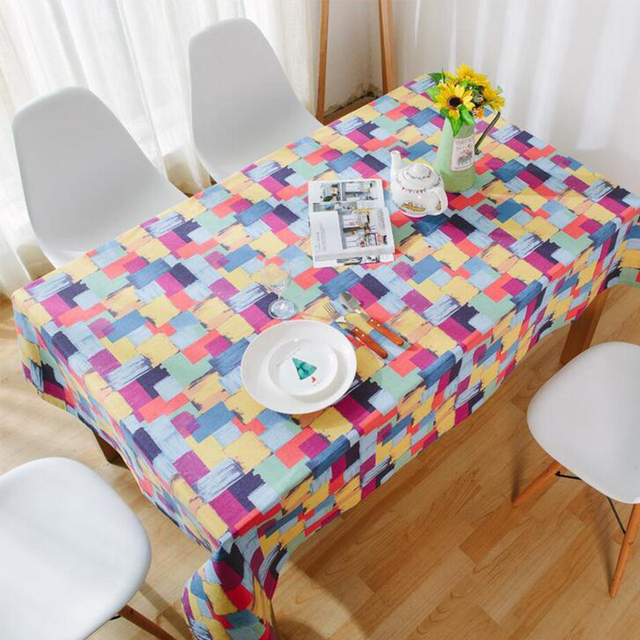 Amazing Colorful Rectangle Table Cloth Linen Cotton Oil Graffiti Painting Table  Covers Banquet Dinner Decorative Christmas Tablecloth