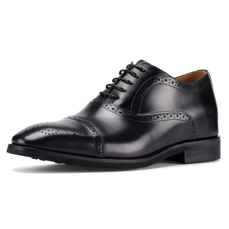 Brand New Invisible Elevator Shoes For Men Height Increase 6cm Handmade Genuine Leather Shoes Brogues