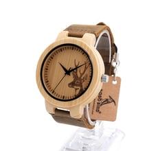 BOBO BIRD D14 Wood Wristwatch Fashion Bamboo Watch Elk Dialplate Casual Japaness Quartz Clock for Unisex in Paper Gift Box