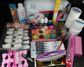 Pro Nail Art UV Gel Kits Tools Pink UV lamp Brush Tips Glue Acrylic Powder Set polish