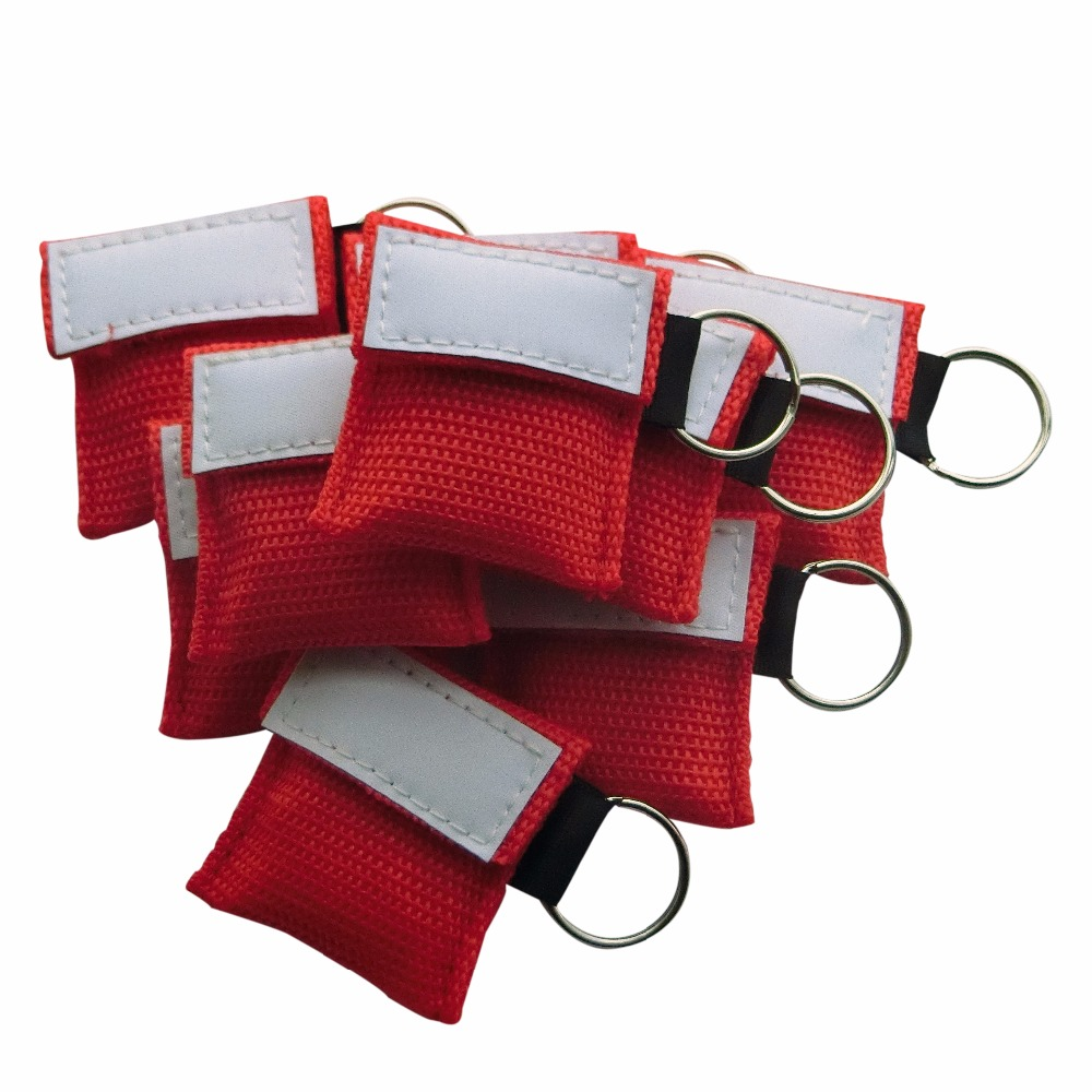 100Pcs/Pack Assistant CPR Mask Face Shield Emergency Rescue Mask Red Nylon Bag With Keychain One-way Valve Avoid Cross Infection 220 pcs pack cpr resuscitator keychain mask key ring emergency rescue face shield orange