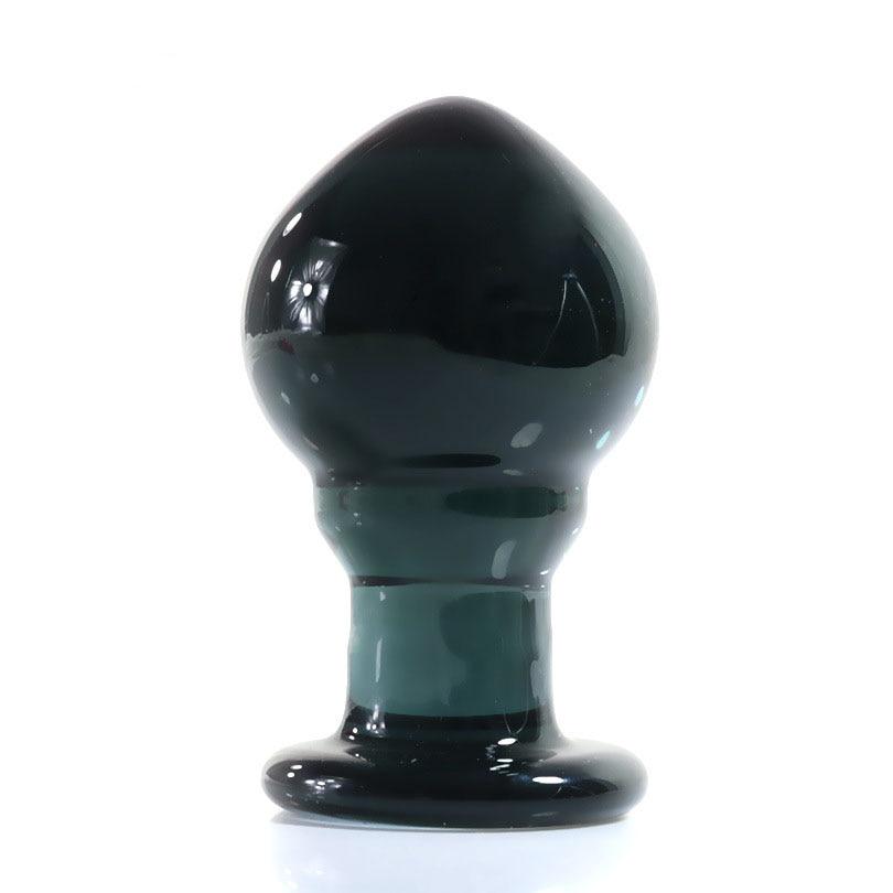 Glass Anal Plug Transparent Black Oval Butt Plug Glass -1419