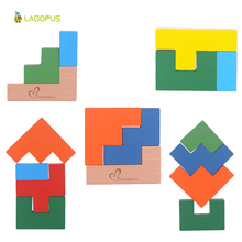 цена на Hot Sale Colorful Wooden Toy Tetris Game Style Jigsaw Teaser Puzzle Toys Building Educational Toy Puzzles Gift for Kids Children