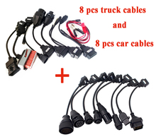 2019.VD DS150E CDP 8pcs מלא סט רכב כבלי + 8pcs משאית כבלים עבור tcs פרו בתוספת כבל עבור delphis